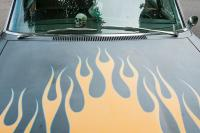 flames painted on old car
