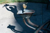 sculpture shadow and drinking fountain