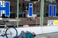 person passed out outside hillary headquarters