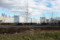 Trailers in parking lot