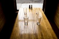 table with empty glasses