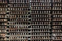 stack of railroad rails