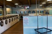 inside laundromat with TV