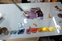oil paints on glass sheet
