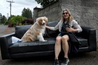 person and dog sitting on a discarded couch