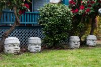 yard with four concrete heads