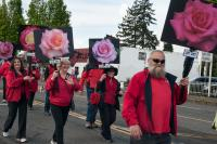 people dressed in red and black carring signs with picture of roses.
