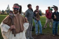 people playing Frisbee golf in Thanksgiving theme costumes