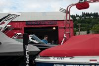 boat dealership with person working