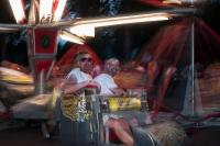 two men on a amusement ride at Oaks Park