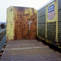 Idle Union Pacific rail cars