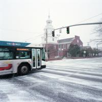 Bus crossing SE Washington in snow