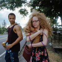 Young couple with chihuahua NE Prescott st near I205 bridge