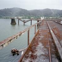 Decaying pier on east side of Willamette past St. Johns