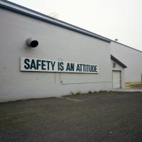 Safety sign at Georgia Pacific plant N Rivergate